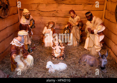 Crib with crib figures, Holy Family with Three Wise Men, Stade, Lower Saxony, Germany - Stock Photo