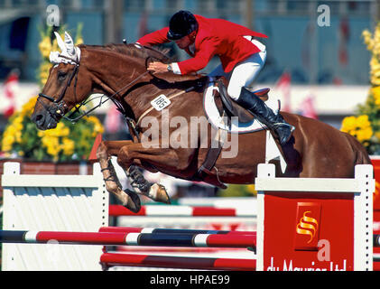 CSIO Masters, Spruce Meadows, September 1998, John Pearce (CAN) riding Vagabond - Stock Photo