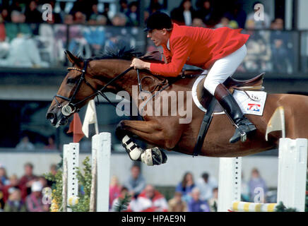 CSIO Masters, Spruce Meadows, September 1997, Piet Raymakers (NED) riding Optiebeur's Ratina Z - Stock Photo