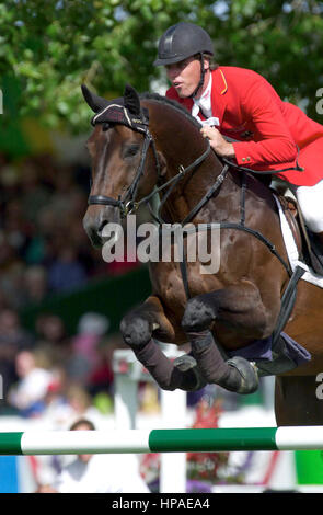 CSIO Masters, Spruce Meadows, September 2000, Rene Tebbel (GER) riding Radiator - Stock Photo