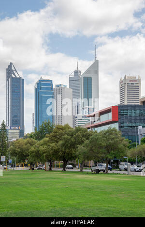Perth city view from Langley park, Western Australia - Stock Photo
