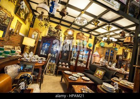 Antique shop interior at the Ratchada Train Market, Bangkok