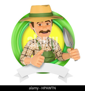 3d logo illustration. Gardener with a small spade. Isolated white background. - Stock Photo