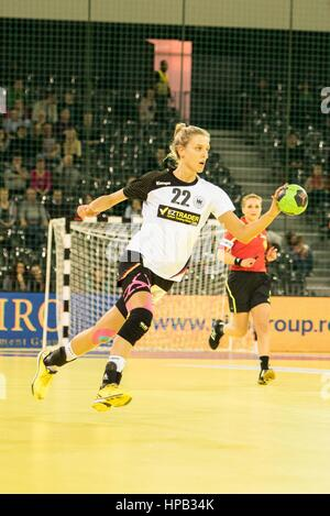 March 20, 2015: Susan Muller #22 of Germany National Team   in action during the women's Carpathian Trophy handball - Stock Photo
