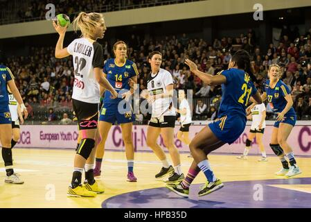March 20, 2015: Susan Muller #22 of Germany National Team  and Dafe Edijana #21 of Sweden National Team  in action - Stock Photo