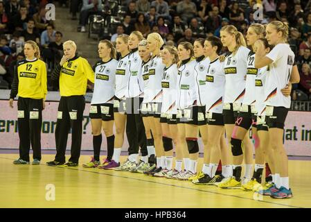 March 20, 2015: The Germany team before the free throws from left to right: Katja Schulke, Clara Woltering, Worez - Stock Photo