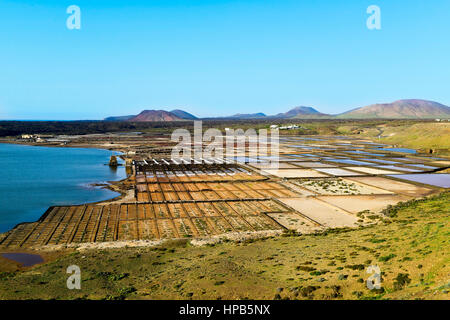 a view of the large saltwater lagoon Laguna de Janubio and the traditional saltworks, in Lanzarote, Canary Islands, - Stock Photo