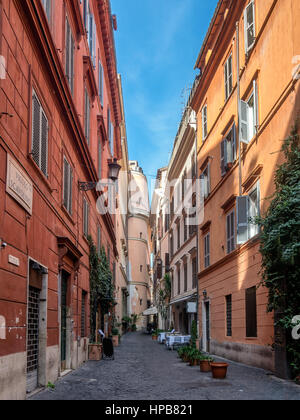 Narrow streets in Rome with restaurants - Stock Photo
