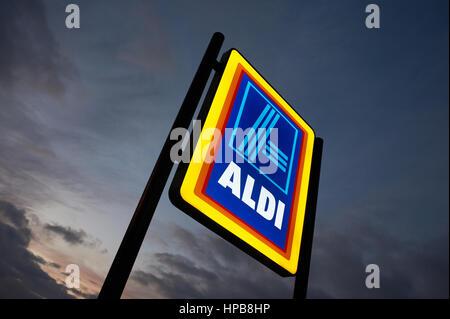 Aldi supermarket sign logo.