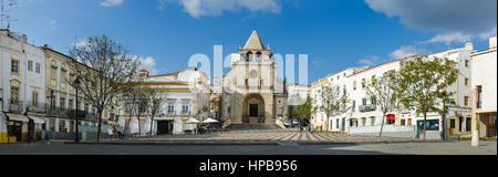 Panoramic of Republic Square in the town of Elvas and Cathedral of Our Lady of the Assumption. Alentejo Region. - Stock Photo