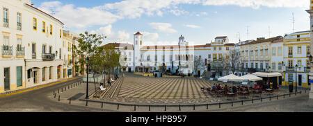 Panoramic of Republic Square in the town of Elvas. Alentejo Region. Portugal. - Stock Photo