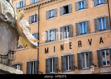 Bernini's 'Little Elephant' in Piazza della Minerva with The Grand Minerva Hotel in the background, Rome, Lazio, - Stock Photo