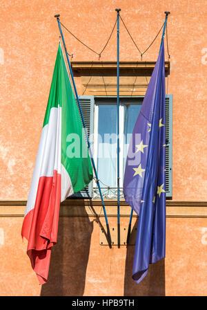 The Italian and European Union flags, Rome, Lazio, Italy, Europe - Stock Photo