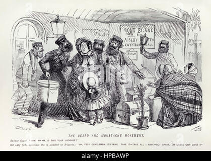 """The Beard and Moustache Movement – Railway Guard: ""Now Ma'am, is this your luggage? Old Lady (who concludes she - Stock Photo"