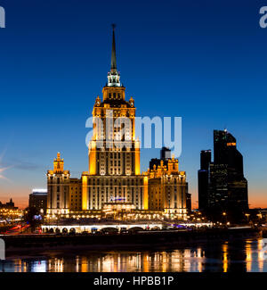 Moscow, Russia - February 5, 2017: Hotel Radisson Royal (former 'Ukraine') and Moscow International Business Center 'Moscow City' - symbols of Stalin