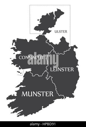 Ireland Map labelled black illustration - Stock Photo