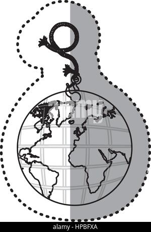 sticker silhouette hanging rope with metal hook and earth world map - Stock Photo