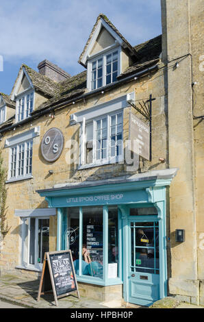 Little Stocks Coffee Shop in Stow-on-the-Wold in the Cotswolds - Stock Photo