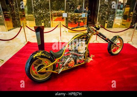 Trump Tower, Interieur, golden motorcycle, custom-made chopper for Donald Trump,  Lobby, Elevators, New York City, - Stock Photo