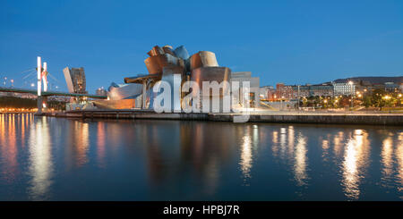 Panorama of Guggenheim Museum Bilbao , museum of modern and contemporary art , architect Frank Gehry , Nervion river, - Stock Photo