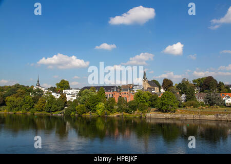 Essen-Kettwig, old town on the Ruhr river with historic market church, right, St.Peter church left, Essen, NRW, - Stock Photo