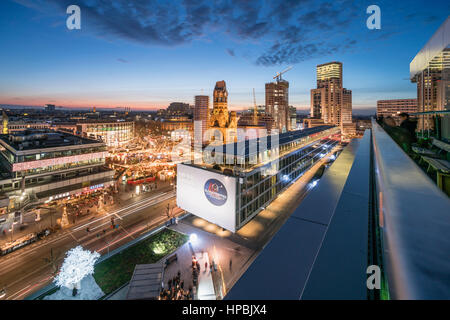 City West, Bikini Shopping Center, Christmas market, Breitscheidplatz, Kaiser Wilhelm Memorial Church, Waldorf Astiroa - Stock Photo