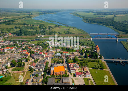 Wolin, Nikolaikirche, Nikolai church, bridge over the Dziwna river, city center, east coast, Województwo zachodniopomorskie, - Stock Photo