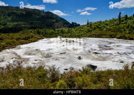 Scenic landscape view of Orakei Korako geothermal park, New Zealand, North Island - Stock Photo