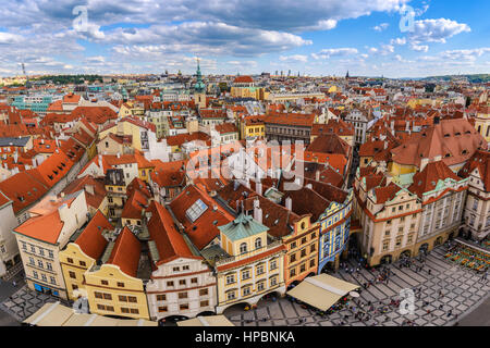 Prague city skyline at old town square, Prague, Czech Republic - Stock Photo