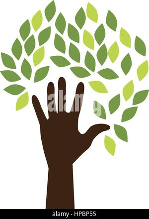 hand human silhouette with leafs vector illustration design - Stock Photo