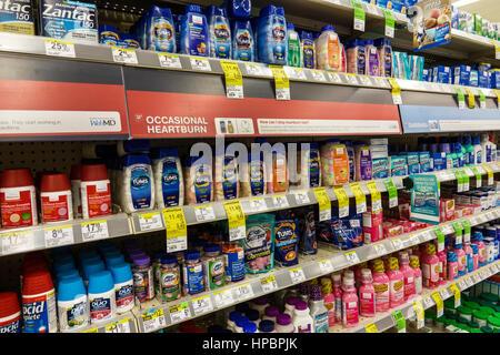 Key Largo Florida Upper Florida Keys Walgreens pharmacy drugstore inside shopping sale retail display shelves antacids - Stock Photo