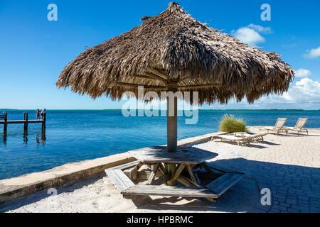 Key Largo Florida Upper Florida Keys Florida Bay Kona Kai Resort Gallery and Botanic Gardens hotel private beach - Stock Photo