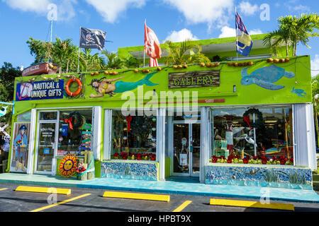 Key Largo Florida Upper Florida Keys Nautical & Unique Gifts gallery store shop shopping souvenir exterior mermaid - Stock Photo