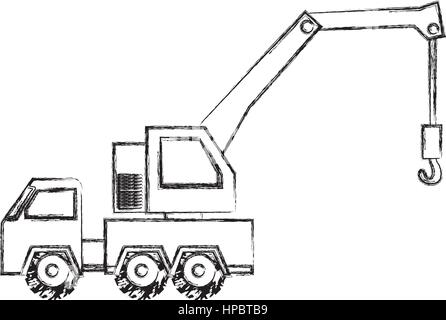 monochrome contour hand drawing of tow truck vehicle transport - Stock Photo
