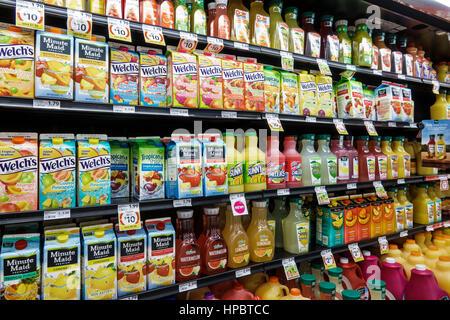 Key Largo Florida Upper Florida Keys Winn-Dixie supermarket grocery store shopping shelves fruit juice cartons plastic - Stock Photo