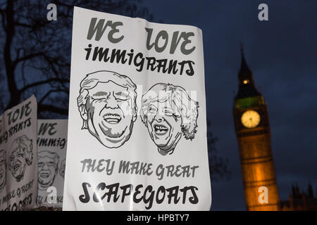 London, UK. 20 February 2017. Anti-Trump 'stop the state visit' protest in Parliament Square. Thousands of protesters - Stock Photo
