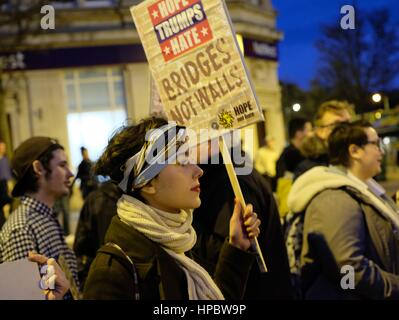 Bournemouth, Dorset, UK. 20 February 2017. Anti Trump  demonstrations meet in Bournemouth Square during the national - Stock Photo