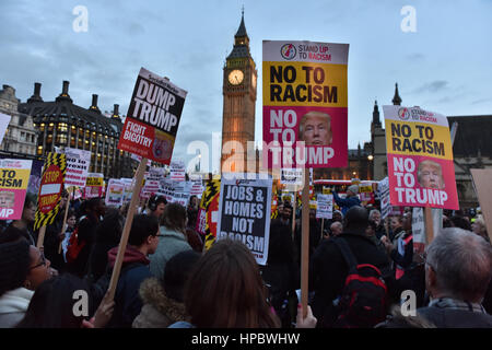 Parliament Square, London, UK. 20th February 2017. People from the Stop Trump Coalition gather in London's Parliament - Stock Photo
