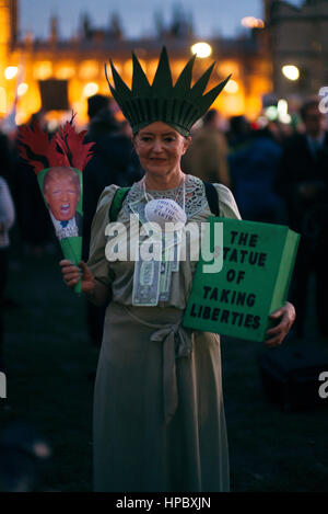 London UK. 20th, February, 2017.  Demonstrators gather outside parliament to protest a potential state visit from - Stock Photo