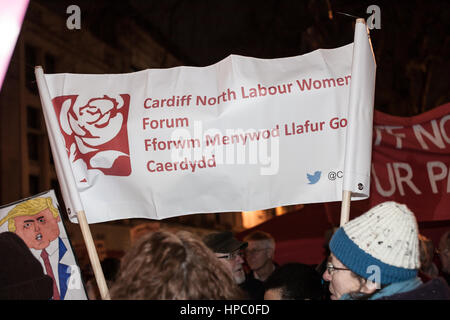 Cardiff, UK. 20th February, 2017. 1000 protesters gathered under the Aneurin Bevan Statue in Cardiff City Centre - Stock Photo