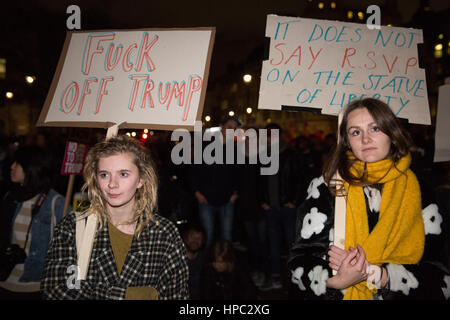 London, UK. 20th February, 2017. Thousands of demonstrators attend a Stop Trump rally in Parliament Square as the - Stock Photo