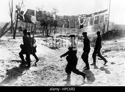 The Nazi propaganda image shows German Wehrmacht soldiers in Stalingrad (today Volgograd). Taken in October 1942. - Stock Photo
