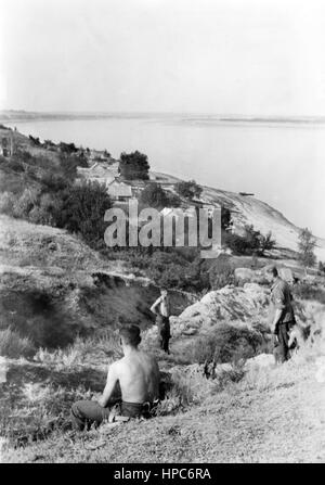 The Nazi propaganda image shows German Wehrmacht soldiers on the Eastern Front by the river Wolga near Stalingrad - Stock Photo