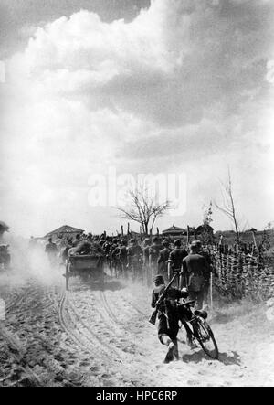 The Nazi propaganda image shows German Wehrmacht infantrymen on the Eastern Front on the advance march to the Wolga - Stock Photo
