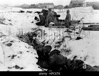The Nazi propaganda image shows German Wehrmacht antitank guns in the battle zone of Stalingrad (today Volgograd). - Stock Photo