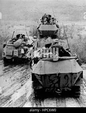 The Nazi propaganda image shows German Wehrmacht tanks in the conflict zone of Stalingrad (today Volgograd). Taken - Stock Photo