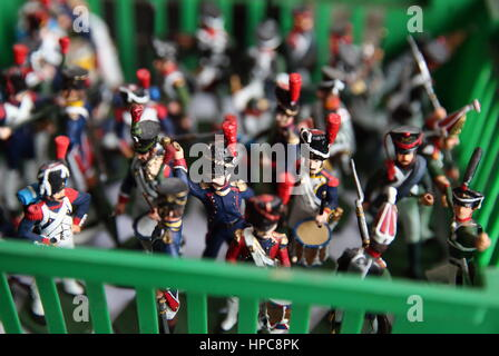 St Petersburg, Russia. 21st Feb, 2017. Tin soldiers at the Niena Studio. The studio specialises in manufacturing - Stock Photo