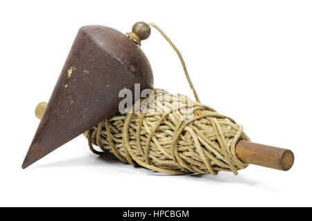 old plumb bob isolated on white background - Stock Photo