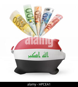 Side view of a piggy bank with the flag design of Iraq and various european banknotes.(series) - Stock Photo