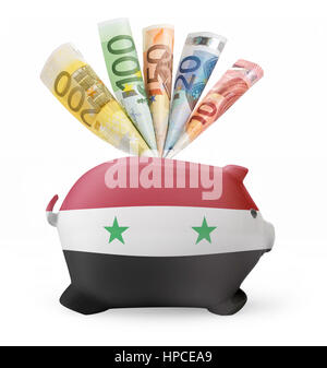 Side view of a piggy bank with the flag design of Syria and various european banknotes.(series) - Stock Photo
